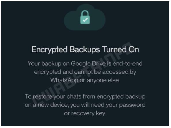 WhatsApp: novo recurso protege backup no Google Drive com senha